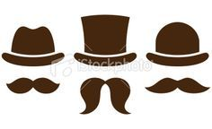 Hats with mustaches Royalty Free Stock Vector Art Illustration