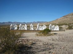 Phantom Statues in Rhyolite, a ghost town near Death Valley, CA.