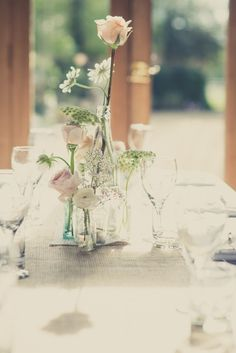 Stylish Rustic Peach & Grey Wedding Bottles Flowers http://karibellamy.com/