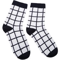 Black and White Grid Pattern Crew Sock (€2,63) ❤ liked on Polyvore featuring intimates, hosiery, socks, accessories, socks and tights, crew cut socks, black white socks, print socks, patterned hosiery and white and black socks
