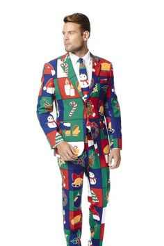 Pre-Order - Touch Me Twice Naughty or Nice Patchwork Ugly Christmas Sweater Dress Suit by Opposuits- Fall 2016 Delivery - Shinesty