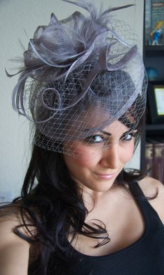 Lavender Fascinator - Lavender & Gray Fascinator Hat Headband w/Ribbon waves a gray birdcage veil