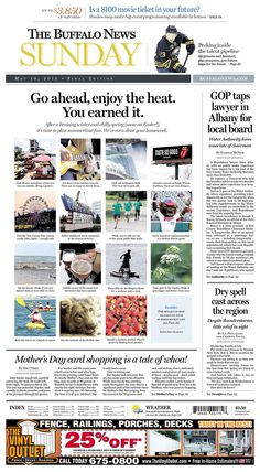 The Buffalo News for May 10, 2015 via Today's Front Pages | Newseum #newsdesign #newspapers