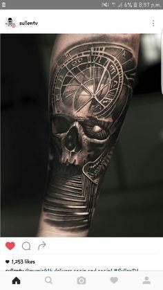 Skull steps compass tattoo