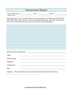 this free church printable is an announcement request form which can be used to keep