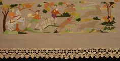 RICHELIEU EMBROIDERED TABLE COVER, SIECLE, PARIS, 20th C. Linen square with cutwork and colorful embroidered hunting scenes, trimmed with crochet border. (Detail)