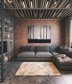 trendy home dco design loft Small Living Rooms, New Living Room, Living Room Designs, Cozy Living, Living Spaces, Industrial Bedroom Design, Industrial Interiors, Industrial Dining, Industrial Lighting