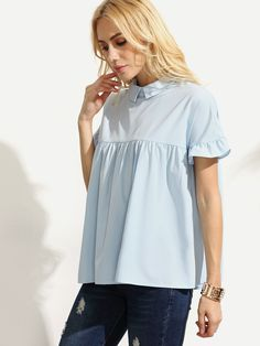 Shop Flounce Sleeve Babydoll Blouse online. SheIn offers Flounce Sleeve Babydoll Blouse & more to fit your fashionable needs.