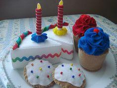 Felt Primary Birthday Dessert Play Food Set. $22.00, via Etsy.