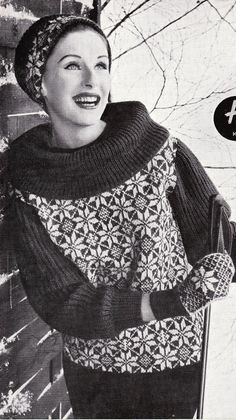 Vintage Knitting Pattern Fair Isle Jumper, Retro DK, 30 to 38 Bust LARGER PRINT