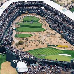 The beautiful TPC Scottsdale golf course in Phoenix, Arizona. Famous Golf Courses, Party Venues, Baseball Field, Photo Credit, City Photo, Around The Worlds, Yard, The Incredibles, Courchevel