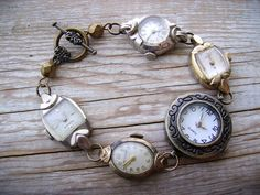 Steampunk Bracelet Vintage Wrist Watch with by CompassRoseDesign, $69.00