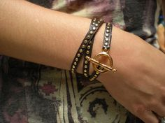 Gold Studded Leather Wrap Bracelet by wolfmaier on Etsy, $39.00