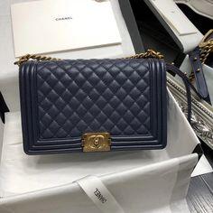 f27da1483afdd5 Chanel New Medium Original Caviar Leather Le Boy Flap Bag 28cm Deep Blue  Chanel Caviar Bag
