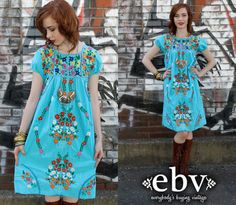 Vintage 70s Blue Mexican Embroidered Hippie Boho Mini by shopEBV, $78.00