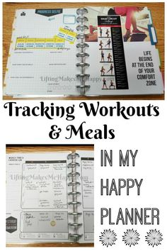 Workout and Meal Tracking in My Happy Planner planner setup Workout and Meal Tracking in My Happy Planner Planner Tips, Planner Layout, Life Planner, 2018 Planner, Fitness Happy Planner, Planners, Health Planner, Fitness Journal, Fitness Diary