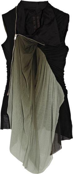 RICK OWENS Jersey-paneled Cotton Vest