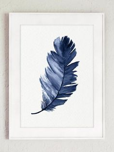 Royal Blue Feather Art Print set of 2 Feathers. Minimalist Watercolor Painting A… Royal Blue Feather Art Print set of Watercolor Feather, Watercolor Paintings Abstract, Feather Art, Feather Drawing, Feather Painting, Blue Painting, Diy Painting, Abstract Art, Reproductions Murales