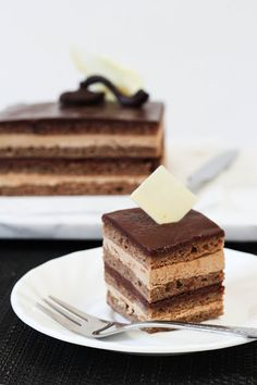 French Opera cake // very complex cake, but worth the effort for a special occasion. I doubled the recipe to make a longer cake. Made the sponge cake the night before, which really helped. The sides cut surprisingly well, final thing looked amazing.