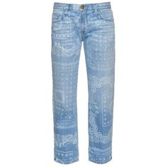 Current/Elliott The Boyfriend bandana-print low-rise jeans (€210) ❤ liked on Polyvore featuring jeans, denim, faded blue jeans, low rise jeans, leather jeans, blue jeans and current elliott jeans