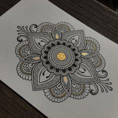 Gold centered mandala pattern design