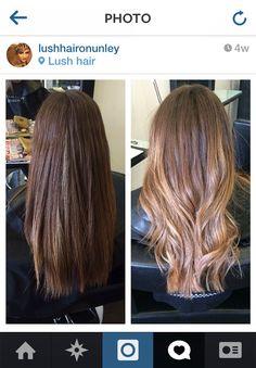 Brunette blonde ombré baylage summer hair color