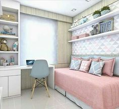 Images and videos of design de interiores Dream Rooms, Dream Bedroom, Teen Bedroom, Bedroom Decor, Bedrooms, Nursery Decor, Bedroom Ideas, New Room, House Rooms