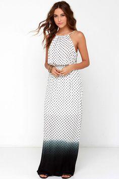 Lava Bed Beauty Ivory Print Dip-Dye Maxi Dress at Lulus.com!
