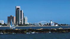 Corpus Christi showing a bay or harbor, skyline and a coastal town Selena Quintanilla Perez, Sacramento, Corpus Christi Texas, Spring Break Destinations, Website Design, Seaside Resort, Holiday Resort, Bay City, Seattle Skyline