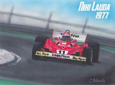 Niki Lauda formula - airbrush painting on canvas