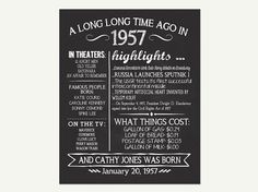 The Year 1957, Personalized 60th Birthday Printable Poster, PRINTABLE 60th Birthday Sign, Fun Facts 1957, 60th Birthday Gift, Digital File