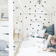 Oh Love this little guy! our tiny dots wall decal looks amazing in this amazing little oasis. @foxandwilder is one talented mama!