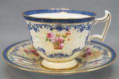 Set of 8 Royal Doulton Robert Allen RA8063 Cobalt & Pink Rose Tea Cups & Saucers