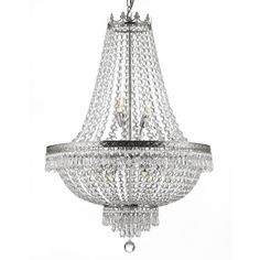 Reflecting a time of class and elegance, this exquisite chandelier is inspired by grand European lighting. Finished in a sophisticated silver, this beautiful nine-light chandelier features dazzling rows of empire crystals that catch and reflect light.