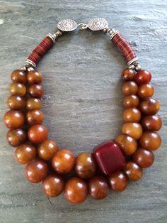 Chunky Jewelry, Amber Jewelry, Tribal Jewelry, Statement Jewelry, Boho Jewelry, Jewelry Crafts, Beaded Jewelry, Jewelery, Vintage Jewelry