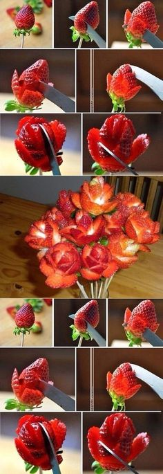 Flores con fresas # Food and Drink art creative Карвинг Cute Food, Good Food, Yummy Food, Yummy Snacks, Fruits Decoration, Fruit Creations, Food Carving, Food Garnishes, Garnishing Ideas