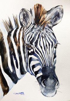ORIGINAL WATERCOLOR PAINTING Zebra Portrait, Wildlife Animal, zebra art by alisiasilverART on Etsy