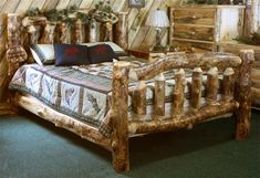 Amish Aspen Wood Log Furniture Bed - Rustic and fun. The perfect way to bring the cozy cabin feel into your home, wherever you are!