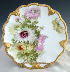 Antique porcelain plate hand painted chrysanthemums Lanternier Limoges from victoriascurio on Ruby Lane c,1891