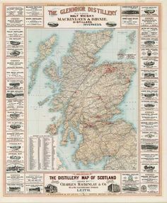 An 1895 whisky map of Scotland, with an advert for one of my favourite distilleries, Glen Mhor, given pride of place. I'll need to hunt down a copy of this for the wall!