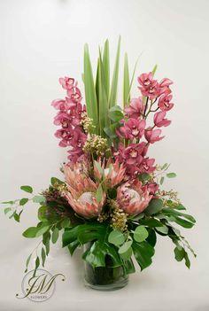 Tall vase display made of cymbidium orchids, proteas, wax flowers and foliage. Tropical Flower Arrangements, Church Flower Arrangements, Beautiful Flower Arrangements, Silk Flower Arrangements, Beautiful Flowers, Protea Flower, Flower Vases, Wax Flowers, Tropical Flowers