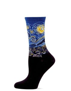 c50c1afa721 Starry Night socks for women feature Vincent s famous masterpiece and are  the perfect gift for the