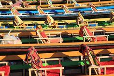 Inle Lake. Burma Myanmar. Boats.