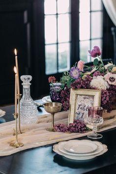 purple and gold wedding table decor Wedding Chicks Day of Gal Weddings Gustav Klimt inspired wedding Inspired shoot