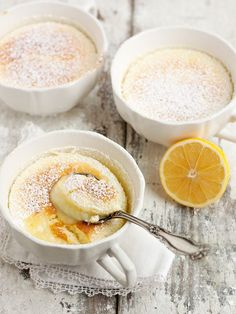 "This Warm Lemon Pudding Cake is delicious fresh and light lemon dessert with a creamy warm lemon pudding on the bottom and a light souffle-like ""cake"" topping. A perfect meal-ender. This Warm Lemon Pudd Lemon Desserts, Lemon Recipes, Sweet Recipes, Delicious Desserts, Cake Recipes, Dessert Recipes, Yummy Food, Trifle Desserts, Lemon Pudding Recipes"