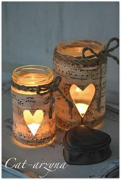 DIY Sheet Music Candle DIY by Cameo Events DIY with Candle Impressions, a mason jar or glass candle holder, twine, and lemon stained music sheets! Use candle Impressions to save yourself the worry of Pot Mason Diy, Mason Jar Crafts, Crafts With Jars, Mason Jar Twine, Pots Mason, Glass Candle Holders, Candle Jars, Fire Candle, Mason Jar Lanterns