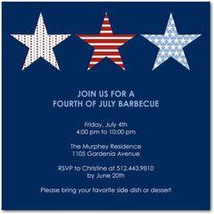 Three Stars - Party Invitations - Jill Smith - Navy - Blue : Front