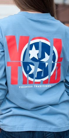 Vol Trad Long Sleeve in Stone Blue with Red b8731d84e