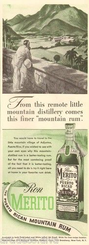 1940s vintage RON MERITO Adjuntas Puerto Rico Rican RUM Mountain BAR Cocktail AD