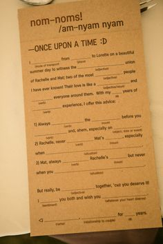 Wedding MadLibs! A really fun way to have get table conversation started, and have guests provide a personalized greeting for the couple to enjoy and keep.